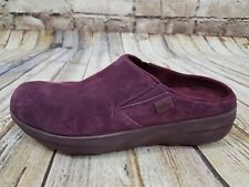 161567be8 FitFlop Womens Loaff Suede Slip on Clog Shoes Purple Size 8