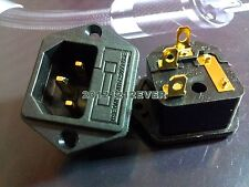 One Red Copper Gold Plated IEC AC Inlet Socket Audio Grade