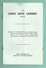 LONDON UNITED LAUNDRIES LTD REPORT OF MEETING OF 20TH OCT 1926 P/B BOOKLET