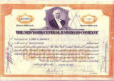 New York Central Railroad Stock Certificate 1930/'s Orange