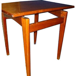 "mid century modern ""FLOATING"" Side Table WALNUT by Jens Risom beautiful form!"