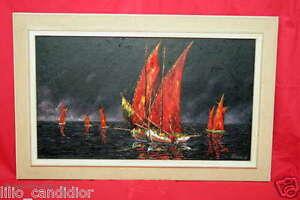 Großes Ölgemälde auf Leinwand / Segelboote / WERNER 64 / Oil paintings / Boats