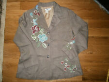 Women's Size 14 Petite Coldwater Creek Lined Blazer Brown Floral Embroidery Wool