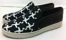 MICHAEL Michael Kors Black White Navy Woven Leather Slip-On Loafer Sneakers 9