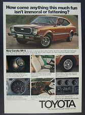 1975 Toyota SR5 Corolla Coupe brown car photo vintage print Ad