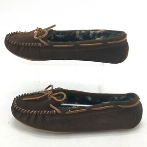Minnetonka Womens 10 Casual Moccasin Slippers Brown Suede Leather Faux Fur 40338