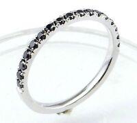Half Eternity Black Diamond Wedding band or stacking rings,comfort fit,14K. Gold