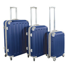 Navy Blue ABS Hard Case Shell Rolling Spinner Luggage Suitcase Set 4-Wheel
