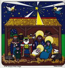 Rare Vtg JUMBO Sandylion Transparent Sticker Sheet - Christmas Nativity Manger