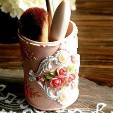 Pink Rose Lady Makeup Brush Holder Container Pen Holder Pot Resin Home Decor