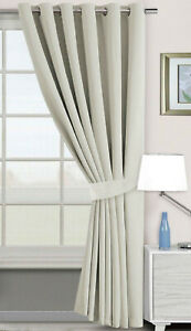 Extra Long 300cm Eyelet Window / Door Curtain Blackout Oyster Grey Soft To Touch