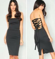 231f31650cfd0 BNWT Missy Empire Dress Size 8 Strapless Lace Up Back Tie Midi Bodycon  Bandeau