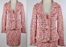 New sz 8 St John Black Label skirt suit blazer pink brown gray white red weave