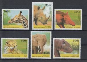 D.Guinea 1631 - 36 Giraffe Elephant Rhino Etc. (MNH)