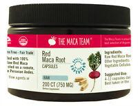 Raw Organic Red Maca Capsules - Fresh Harvest from Peru - 750 Mg, 200 Ct