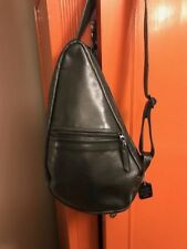 4a6ec39ef39f STICKMAN BLACK LEATHER SLING PACK-- RECONDITIONED-- VERY GOOD CONDITION
