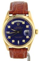 Mens Rolex Day-Date President 18K Yellow Gold Watch Blue Diamond Dial Brown 1803