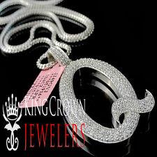"14k White Gold On Silver Initials Letter Alphabet ""Q"" Pendant Simu Diamond Charm"