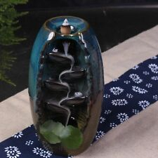"Colored Glazed Ceramic Backflow Incense Holder ""Lotus Leaves Bottle"""