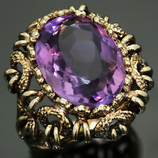 Vintage Natural Amethyst 14k Yellow Gold Hand-Crafted Cocktail Ring