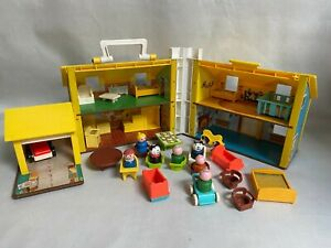 Vintage Fisher Price Family House Including Furniture and Figures 1969 No 952