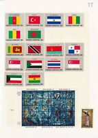 UNITED NATIONS 1960's ALBUM PAGE OF 17 STAMPS & A MINIATURE SHEET