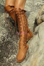 01 Womens Knight Lace Up Over The Knee High Boots Vintage Roma Flat MOccasins