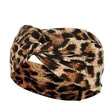 Fascia per capelli elastica donna nodo sportivo leopardato elegante