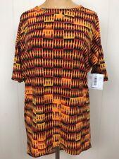Lularoe BLACK XS IRMA Retro 90s Tribal African Print Tunic Shirt Red Gold CC126