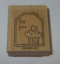For You Cupcake Rubber Stamp Gift Tag Stampin' Up! Heart Birthday Retired WM