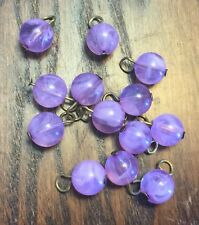 Vintage Metal Brass Loops Purple Lavender Givre Round Lucite Bead Drops Charms