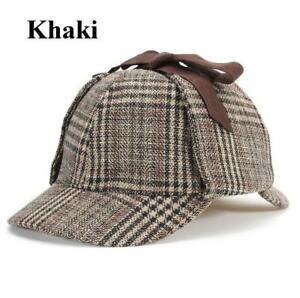 Sherlock Holmes 2 Peak Deerstalker Tweed Check Ear Flaps Wool Blend Hat Cap