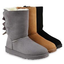 Bequeme Damen Schlupfstiefel Winter Boots Stiefel Warm Gefütterte 70348  Schuhe