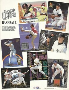 1993 Ultra Baseball Dealer PROMO SHEET  - Barry Bonds  / Dennis Eckersley +