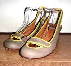 CHIE MIHARA Grey + Yellow Leather Strap Slingback Pumps - UK 6 EU 39