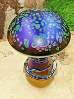 Neo Art Glass handmade green iridescent mushroom paperweight ornament K.Heaton