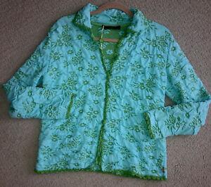 Authentic Oilily blue/green Floral Sweater medium Cotton  Blend Crochet