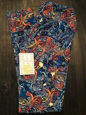 EUC LulaRoe - OS Leggings - Blue Background with Multicolored Paisley