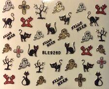 Nail Art 3D Glitter Decal Stickers Halloween Ghost Black Cat Tree Cross BLE926D