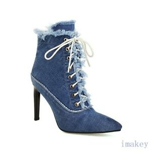 Women Pointy Toe Lace-up Zip Denim Ankle Boots High Heels Stilettos Casual Shoes