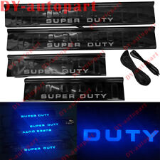 LED light 4 Door Sill Black scuff plate Guard For Ford Super duty F250 F350 F450