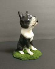 Boston Terrier Dog Figurine Statue Pet Puppy Hand Painted Resin Collectible New
