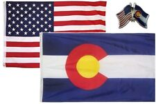 Wholesale Combo Usa & State of Colorado 3x5 3'x5' Flag & Friendship Lapel Pin