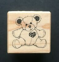 MINI TEDDY BEAR HEART & EAR FLORAL PATCH PSX B-997 Wood Rubber Stamp