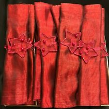 "16 Red Garnet Dinner Napkins Star Ties Sheer Organza Holiday Party 18'x18"" NIB"
