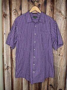 Eddie Bauer Mens Purpler/Red Plaid Short Sleeve Button Up Size XL Tall