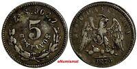 MEXICO Silver 1876 ZS S 5 Centavos VERY RARE KEY DATE Zacatecas Mint KM# 398.10