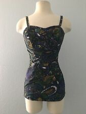 Vintage 1950s Perfection Fit By Roxanne 1 Piece Pinup Bathing Suit Size 34B