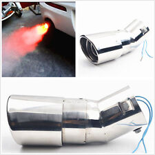 Silver Bend Car Exhaust Tail Throat Pipe With Cool Fire Shining Red Warning Lamp