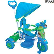 Triciclo Vespina per Bimbo Bambini con Cappottina e Maniglia Direzionabile BLU